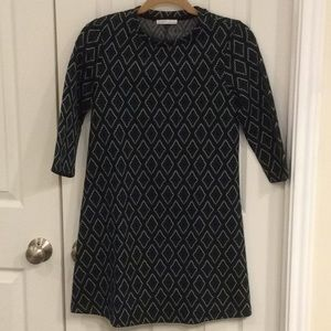Zara green jacquard print shift dress in size S